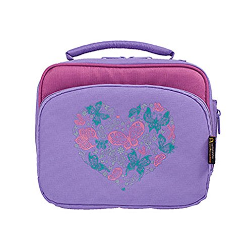 Insulated Lunch Bag - Multi-Compartment Bento Box Carrier Tote - For Kids and Adults - Butterfly Heart