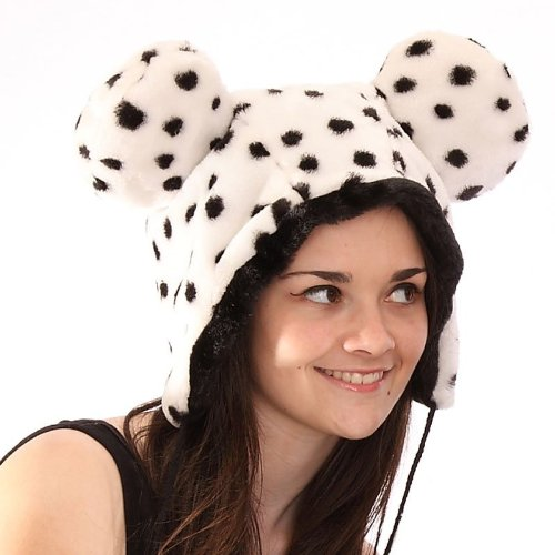 Fun Adults hat with ears and pom pom ties in white and black spot print fake fur, One Size adults Would fit older children too. Perfect Coldest of winter weather ,fancy dress etc .