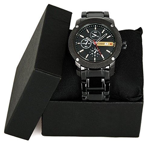 Luxury New Curren Army Black Stainless Steel Date Sports Quartz Mens Wrist Watch image