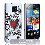 Samsung Galaxy S2 White And Red Heart Silicone Caseby Yousave Accessories