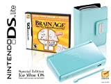 Nintendo DS Lite Limited Edition Ice Blue with Brain Age: Train Your Brain in Minutes a Day! And Carrying Case Bundle