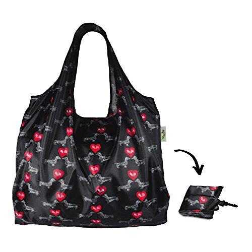 Re-Uz Lifestyle Shopper XL - pieghevole grande borse della spesa riutilizzabili - I Love Mini Dachs bassotti