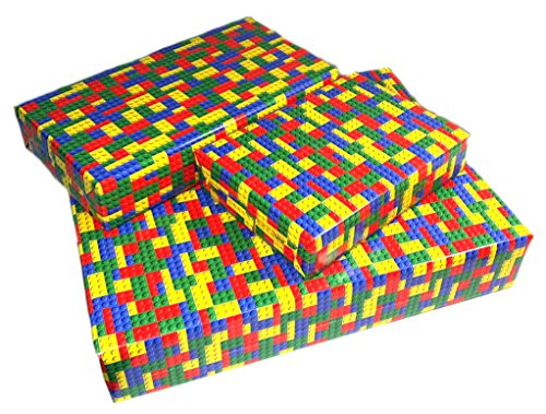 Gift Wrapping Paper Building Blocks Theme By MinifigFansTM (2 Sheets) 39-Inch by 27-Inch