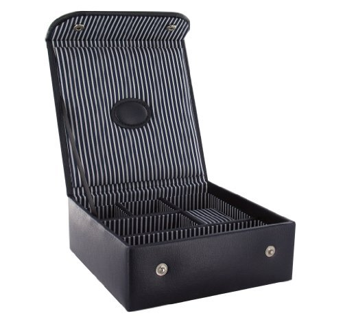 Navy Men's Organiser Watch Valet Box (JB13a) With Christmas Gift Tag - Gents Cuff Link & Watch Travel Case