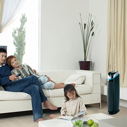 GermGuardian AC5000E 3-in-1 True HEPA Air Purifier System with UV Sanitizer and Odor Reduction, 28-Inch Tower