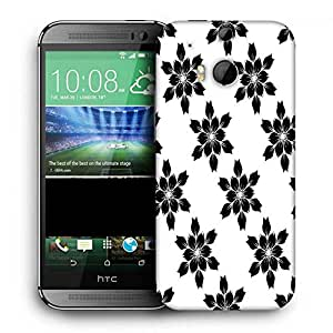 Snoogg Black Floral Printed Protective Phone Back Case Cover For HTC One M8
