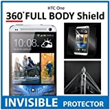 HTC One Full Body INVISIBLE Screen Protector (Front, Back & Side Shields included) 360 Military Grade Protection Exclusively from ACE CASE