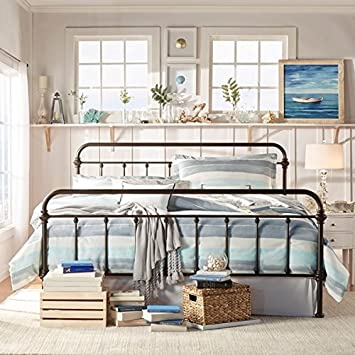 Trend  Twin Full Queen King Antique Iron Metal Bed Frame Vintage Bedroom Sized Furniture Rustic Wrought Country