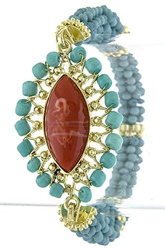 Contempo Couture Faux Oval Gem Accent Bead Bracelet (Gold/Orange) front-221444