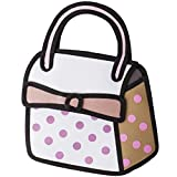 Winterworm® 3D Jump Style 2D Drawing From Cartoon Paper Bag Comic 3D Messenger Bag Small Tote Purse Bag (Pink+Grey+White)