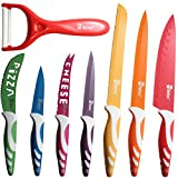 ChefcooTM Color Non-stick Kitchen Knives Set - Cutlery Boxed Knife - Includes Cheese, Pizza, Paring, Utility, Slicer, Bread and Chef Knives, Plus Bonus Vegetable Peeler - Elegant Gift Packaging Design