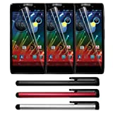 Skque 3 packs Clear Screen Protector Films Cover and Black/Blue/Silver Touch Screen Stylus Pensfor the Motorola Razr Maxx HD XT926