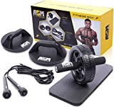 ASM Fitness Box- Ab Wheel Roller with Thick Knee Pad Mat, Rotational Push Up Bar / Pushup Stand, Skipping Rope. Premium Home Gym Set