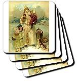 3dRose Cst_6811_4 Victorian Santa-Ceramic Tile Coasters, Set Of 8