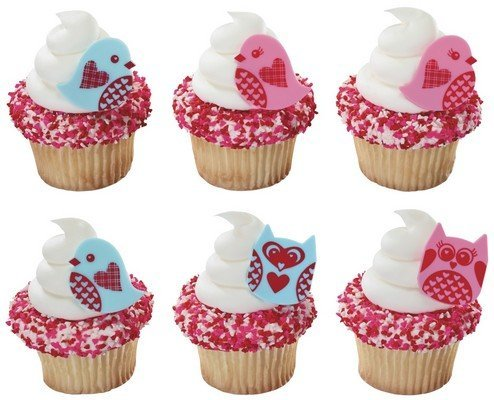 12 Love Birds & Owls Cupcake Topper Rings Party Favors