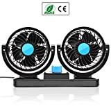 SySrion Dual Heads Car Fan 12V Vehicle Fans-360 Degree Rotation 2 Speed Adjustable Strong Wind Auto Cooling Air Fan-Ventilation Dashboard Electric Fans-Quickly Blow Away Hot Air Smoke Smell Bad Odors