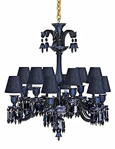Baccarat Zenith Midnight Chandelier with Dark Blue Jean Colored Lampshades, 12 L