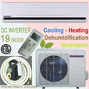 Pioneer Ductless Mini Split INVERTER Air Conditioner, Heat Pump, 30000 BTU (2.5 Ton), 16 SEER, Cooling, Heating, Dehumidification, Ventilation. Including 16 Foot Installation Kit.. 208~230 VAC. by Pioneer