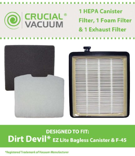 1 Dirt Devil F45 HEPA Canister Filter, Foam Filter & Exhaust Filter Fits Dirt Devil F45, Pets Canister Vacuum SD40000, & EZ Lite Canister SD40010; Compare to Part # 2KQ0107000, 2KQ0104000, 1KQ0106000; Designed & Engineered By Crucial Vacuum (Dirt Devil Sd40010 compare prices)