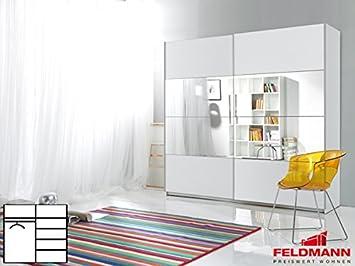 Schwebeturenschrank Kleiderschrank 2-turig 54025 weiß / weiß mit Spiegel 220cm