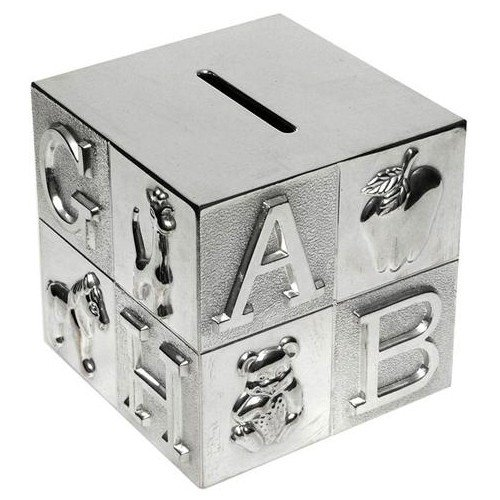 Childrens Silver Plated ABC Cube Money Box