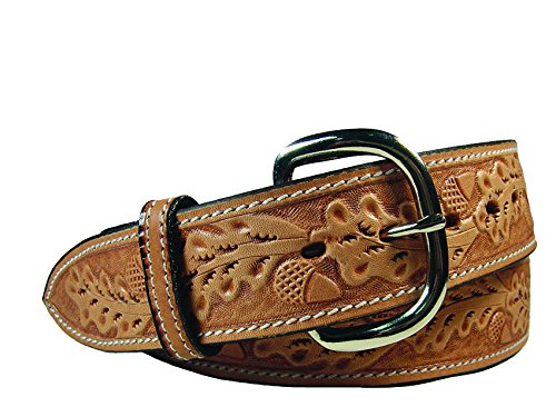 Tahoe Tack USA Leather Acorn Tooled Western Belt with Replaceable Buckle 32""
