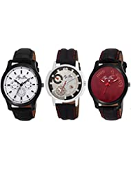 Pappi Boss Pack Of 3 Specially Designed Sober Leather Analog Casual Wrist Watches For Men, Boys