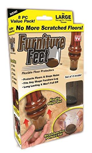 Furniture Feet Flexible Floor Protectors 8 Pack (Large, Fits Legs 1 3/8″-1 5/8″)