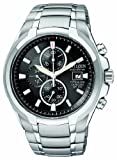 Citizen Men's Quartz Watch with Black Dial Chronograph Display and Silver Titanium Bracelet CA0260-52E