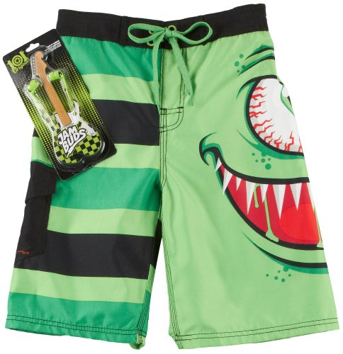 Rude Boyz 8-20 Monster Boardshorts Set Small 8 Lime Green