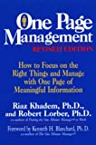 img - for One Page Management book / textbook / text book
