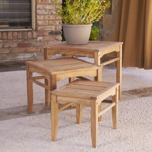 SEI 3-Piece Teak Nesting Table Set