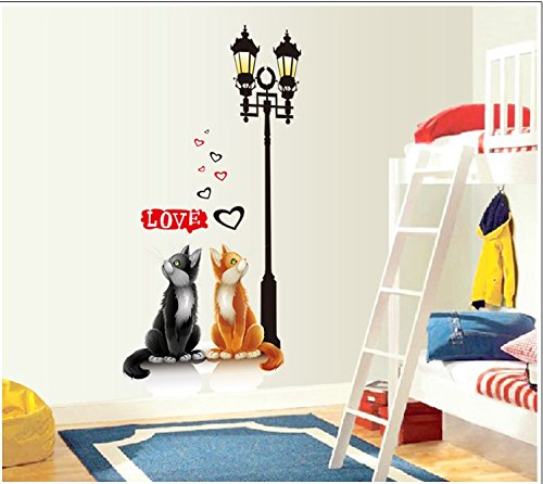 Apexshell (Tm) Cartoon Style Lovely Cat Under Streetlamp Removable High Quality Diy Decorate Wall Decal Sticker Decor For Kids, Home, Nursery Room, For Children'S Bedroom front-127637