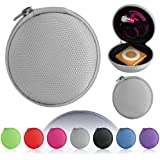 Magic Global Gadgets® - Silver / Light Grey MP3 / Earphones / Headphones / iPod Shuffle / iPod Nano 6 / Apple Watch Sport / Memory Cards / Storage Bag / Gym Use / Universal Carrying Clamshell Pouch Case Cover