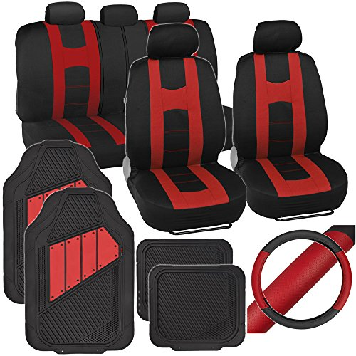 PolyCloth Sport Seat Covers Rubber Floor Mats & Steering Wheel Cover for Auto Car SUV Truck - Two Tone Black & Red (2002 Nissan Frontier Accessories compare prices)