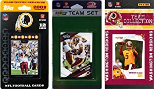 NFL Washington Redskins 3 Different Licensed Trading Card Team Sets by C&I Collectables
