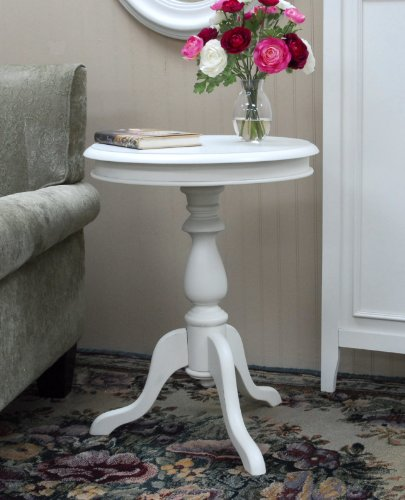 Round Glass Pedestal Coffee Table: Home Furniture Round Side Table Vintage Wood Pedestal