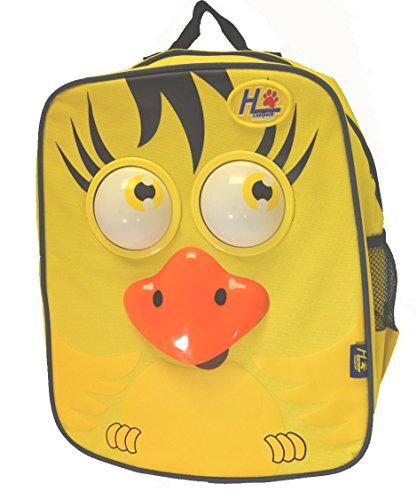 Animated 3d Toddler 13 Inch Backpack Yellow Bird Rolling Eyes , Songs, Moving Tong - 1