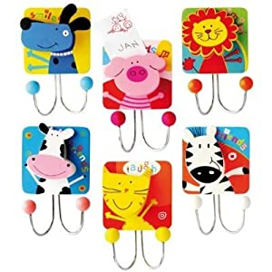 Bino 6 Piece Double Clothes Hook - Bag Holder Animals 87100