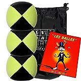 Conjunto de 3 bolas de malabares malabarismos con Flash Pro amarillo / negro (4 caras) en una bolsa de terciopelo llena de almacenamiento y un folleto de 24 páginas en francés