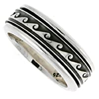 Sterling Silver 5/16 (8 mm) Wave Spinner Ring