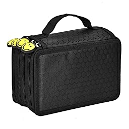 PYRUS 72 Slots Pencil Holder Multi-layer Students Pencil Case Pen Bag Arts Crafts Storage Boxes (Black)
