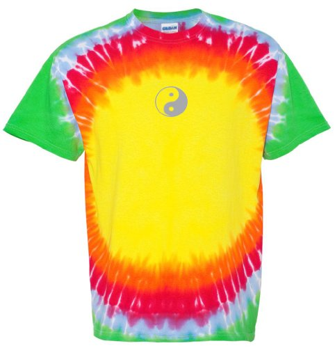 Yoga Clothing For You Mens Yin Yang (Small Print) Tie Dye Tee, Medium