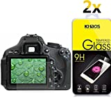 [2-PACK] KHAOS Canon EOS Rebel T7i T6i T5i 800D 700D 750D LCD Tempered Glass Screen Protector, Exuun Optical 9H Hardness 0.33mm Ultra-Thin DSLR Camera Tempered Glass for Canon T5i T6i T7i