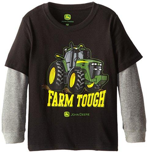 John Deere Little Boys' Layered Thermal Sleeve Tractor Power Tee, Black, 5 front-281330