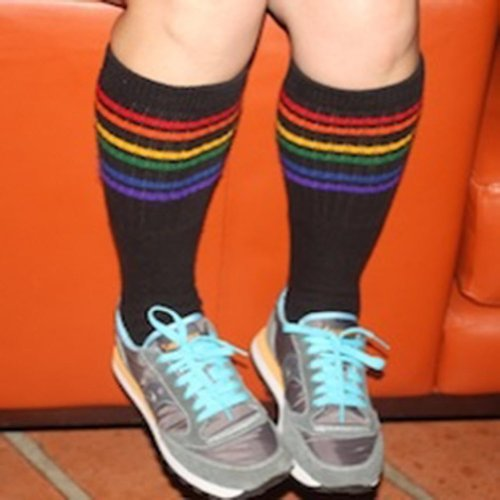Pride Socks - Black Rainbow Striped Socks