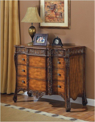 Cheap All new item Brown finish wood bombe chest console table with hand carved accents and 3 large drawers (AMB 950073)