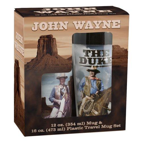 Vandor 15088 John Wayne 12-Ounce Ceramic Mug And 16-Ounce Plastic Travel Mug Gift Set
