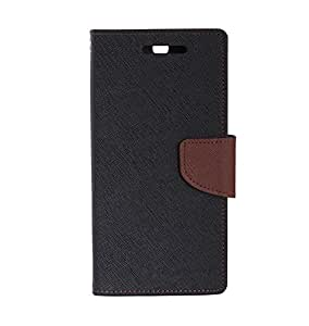 Mercury Goospery Fancy Dairy Case Wallet Flip Case Cover Made For Galaxy S6 Gt-920-Black With Brown Flip