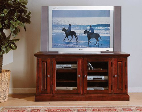Where Can You Buy Tv Cabinet With Glass Door Shelves In Brown Cherry Wood Finish Ads50004